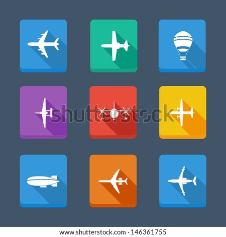 Vector collection airplane and gray silhouettes. Set icons - stock vector