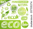 Vector collection: eco signs, labels, tags and emblems - stock vector
