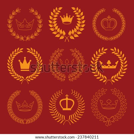 vector collection: laurel wreaths with crowns - stock vector