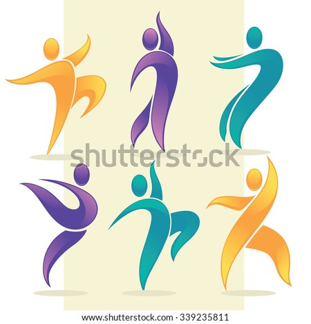 vector collection of abstract people in dancing poses, logo and emblem - stock vector