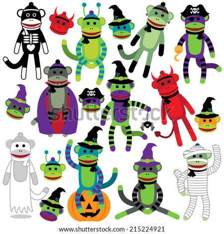 Vector Collection of Adorable Halloween Themed Sock Monkeys - stock vector