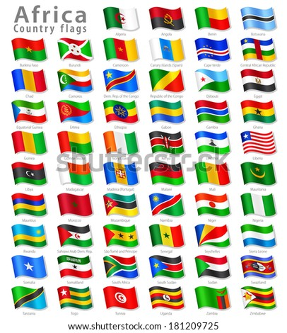 Vector Collection of all African National Flags, in simulated 3 D waving position, with names and grey shadow. Every Flag is isolated on its own layer with proper naming.