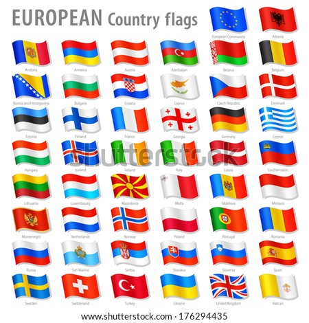 Vector Collection of all European National Flags, in simulated 3 D waving position, with names and grey shadow. Every Flag is isolated on its own layer with proper naming. - stock vector