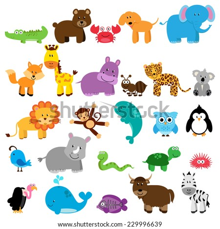 Vector Collection of Animals - One animal for each letter of the alphabet - stock vector