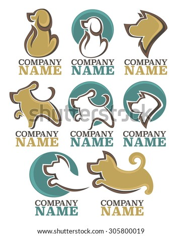 vector collection of animals symbols, emblems and logo - stock vector