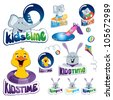 Vector Collection Of Aqua Park - KIDS TIME - stock photo