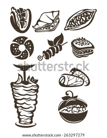 vector collection of arabian food images - stock vector