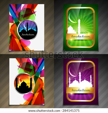 vector collection of attractive background of eid festival illustration - stock vector