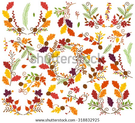 Vector Collection of Autumn and Thanksgiving Themed Floral Elements or Laurels - stock vector