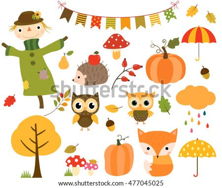 Vector collection of autumn elements and woodland animals. The set includes fall bunting, scarecrow, owls, pumpkins, cloud with raindrops and umbrellas.