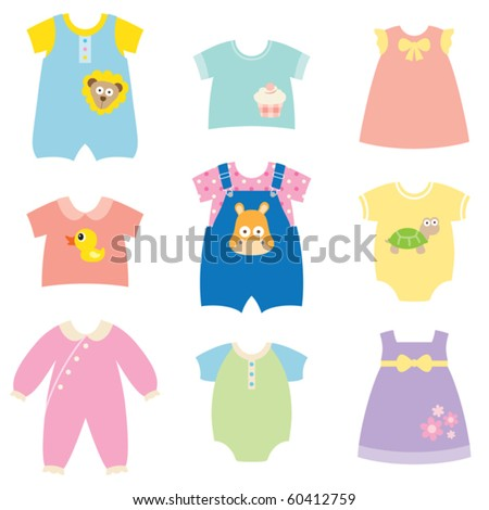 Vector collection of baby and children clothes collection. - stock vector