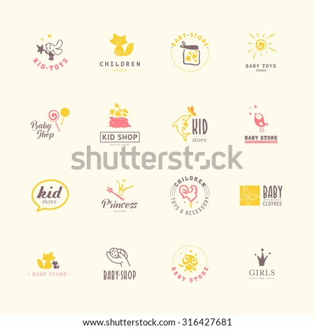 Vector collection of baby logo. Kids fashion label design. Children clothes brand. Baby and kid store insignia template. - stock vector