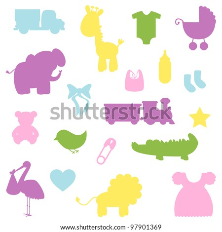 Vector Collection of Baby Shower Silhouettes - stock vector