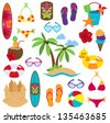 Vector Collection of Beach and Tropical Themed Images - stock vector