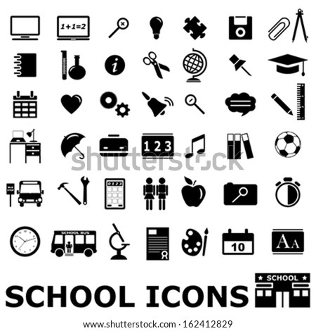 vector collection of black modern school icons (silhouettes) on white background