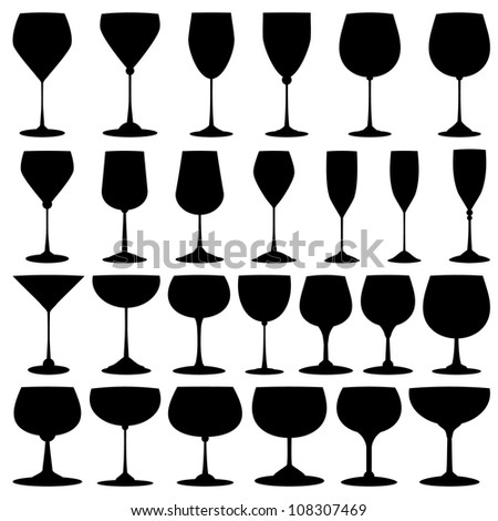 Vector collection of black wine glasses silhouettes - stock vector