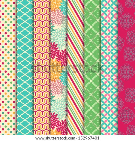 Vector Collection of Bright and Colorful Backgrounds or Digital Papers - stock vector