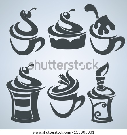 Vector collection of cakes and sweet drinks - stock vector