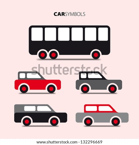 Vector collection of cars and buses - Icon with transport - stock vector