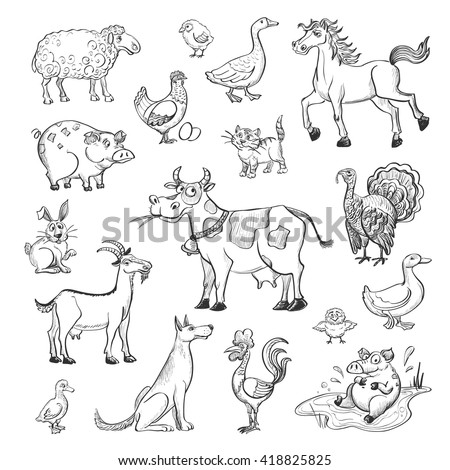 Vector collection of cartoon figures on livestock . Cow , sheep , goat, horse , poultry . - stock vector