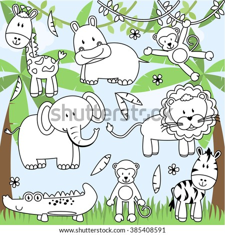 Vector Collection of Cartoon Zoo Animals in Line Art - stock vector