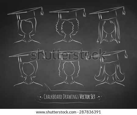 Vector collection of chalkboard drawings of students wearing graduation cap. - stock vector