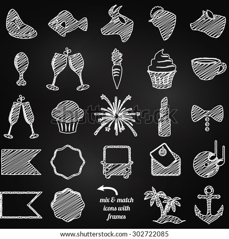 Vector Collection of Chalkboard Style Wedding or Engagement Icons - stock vector