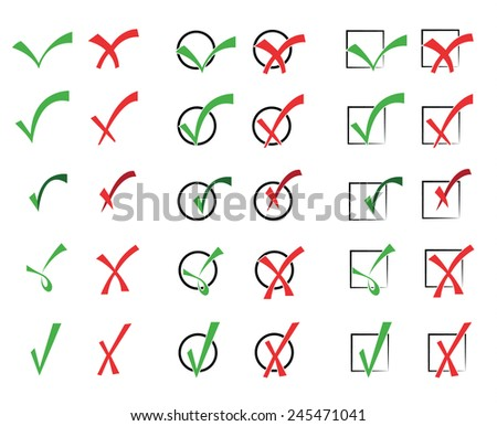 Vector collection of check marks  - stock vector