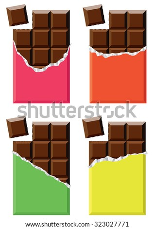 vector collection of chocolate bars - stock vector