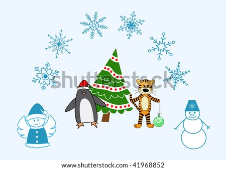 Vector collection of christmas and new year characters and snowflakes - stock vector
