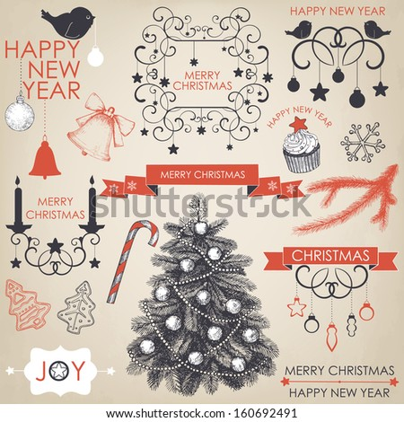 Vector collection of Christmas and New year's elements and hand drawn engraved illustrations. Vector holiday set on aged background - stock vector