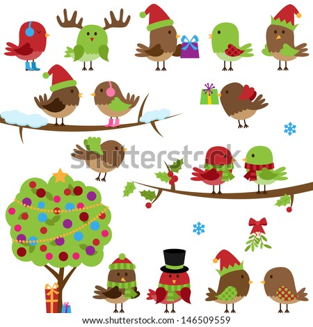 Vector Collection of Christmas and Winter Birds - stock vector