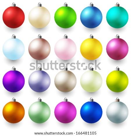 Vector collection of Christmas decoration balls. - stock vector