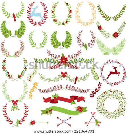 Vector Collection of Christmas Holiday Themed Laurels and Wreaths - stock vector
