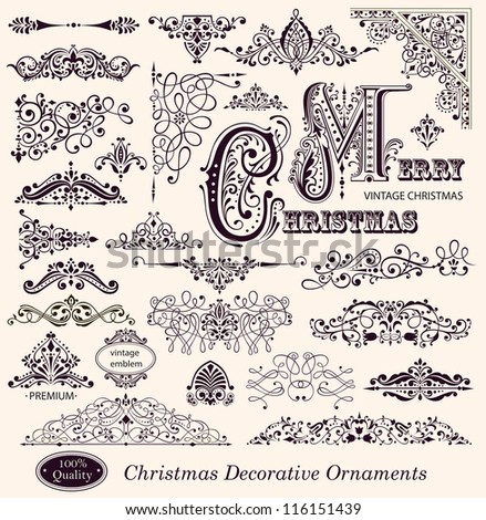 Vector collection of Christmas Ornaments and Decorative Elements: borders, frames - stock vector