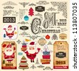 Vector collection of Christmas Ornaments and Decorative Elements: borders, frames, stickers with Santa Claus, Christmas tree - stock photo