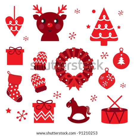 Vector collection of christmas retro elements isolated on white - stock vector