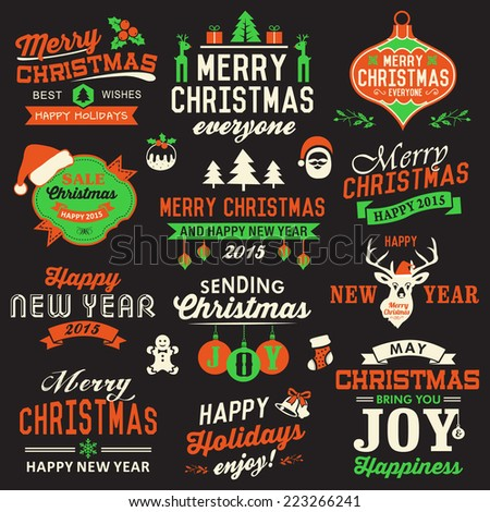 Vector collection of Christmas symbols, labels, icons, elements and decoration  - stock vector