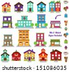 Vector Collection of City and Town Buildings, including various signs - stock vector
