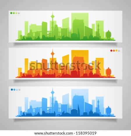 Vector collection of city skylines banners, set 2, divided on layers for create parallax effect on your site. Image contains transparency in banner shadows and can be placed on every surface, EPS 10 - stock vector
