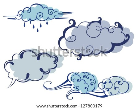 Vector Collection of Cloud Symbols - stock vector