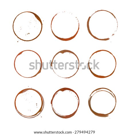 Vector collection of coffee stain circles, splashes and spot isolated on white background. Design elements for cafe branding - stock vector