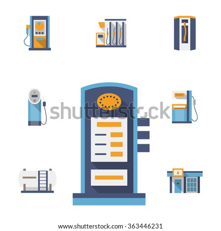Vector collection of color icons for gas and filling station. Power charger, gas and fuel pumps. Modern flat design. Elements of web design for business, website and mobile. - stock vector