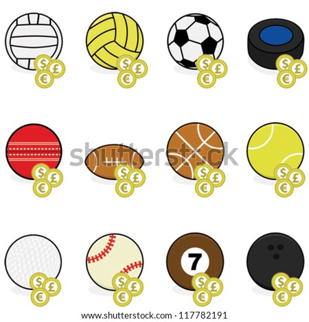 Vector collection of color sports balls with coins on top of them to symbolize sports betting - stock vector