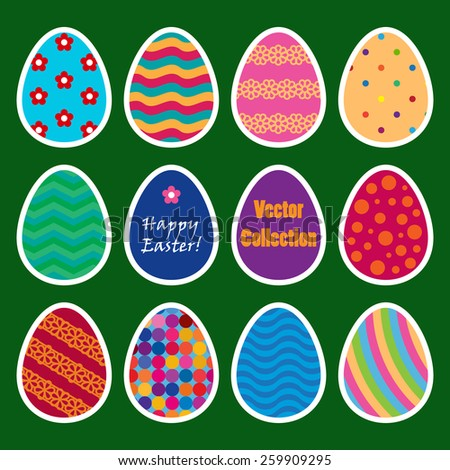 vector collection of colored stickers of easter eggs