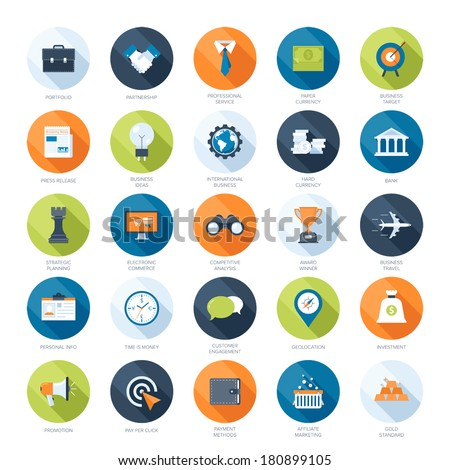 Vector collection of colorful flat business and finance icons with long shadow. Design elements for mobile and web applications. - stock vector