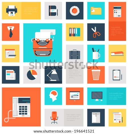 Vector collection of colorful flat office and business icons. Design elements for mobile and web applications. - stock vector