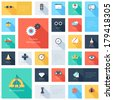 Vector collection of colorful flat search engine optimization icons with long shadow. Design elements for mobile and web applications. - stock