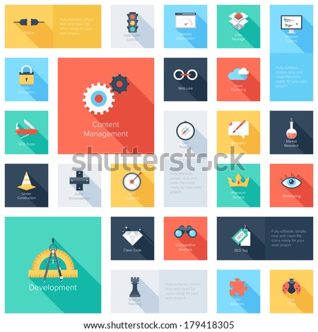 Vector collection of colorful flat search engine optimization icons with long shadow. Design elements for mobile and web applications. - stock vector