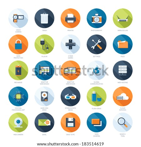 Vector collection of colorful flat technology and multimedia icons with long shadow.  - stock vector